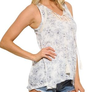 NEW Sleeveless Boho Paisley Tassels Ivory Blue Top